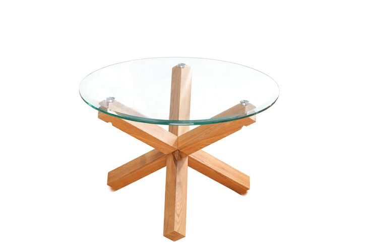 Oporto Coffee Table  Solid Oak. Tempered glass. Diameter: 700mm x H450mm