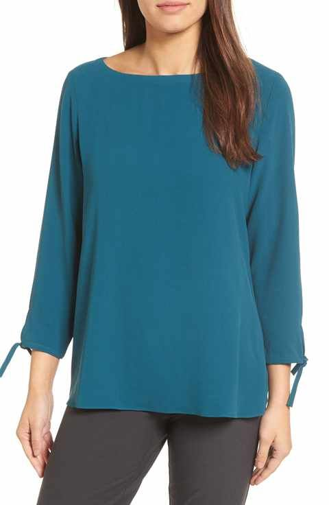 a98d23943070d1 Eileen Fisher Silk Tie Sleeve Blouse (Regular & Petite) | Wardrobe ...