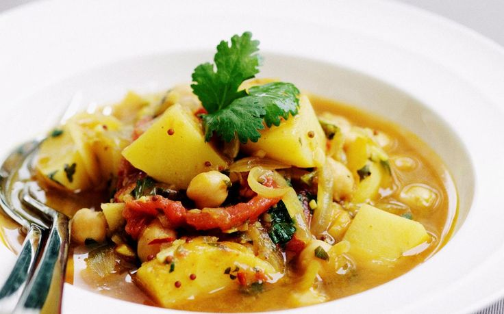 Chickpeas give a crunchy and nutritious twist to this Indian classic vegetable dish aloo mutter.