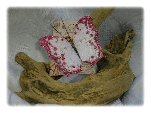 Tegolina con farfalla fucsia