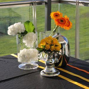 Wedding orange and yellow summer table decoration