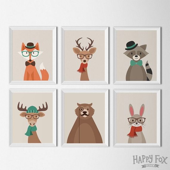 Hipster Woodland Animal Printables Nursery Decor by HappyFoxDesign