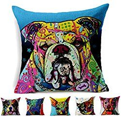 """Cotton Linen Square Decorative Throw Pillow Cover Cushion Case Shams ( dog 1) Set of 1 in Sofa Home for 18""""x18"""" Inserts"""