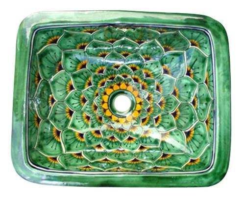 17 ½ x 14 inches (rim to rim ) 7 inches deep 3 overflow holes 1 ½ inches drain hole for standard plumbing Please Note: Your item is custom made for you by an Artisan in Mexico. Your item will ship in