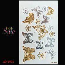Corrente de ouro tatuagem temporária arte corporal tatoo tatuagem flash metálico tatuagem tatuagem temporária Borboleta tattoost adesivos(China (Mainland))