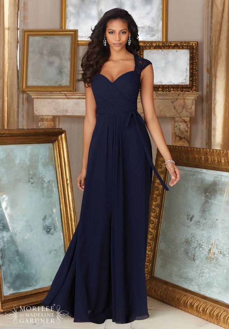 Długa wieczorowa suknia z szyfonu i koronki Mori Lee