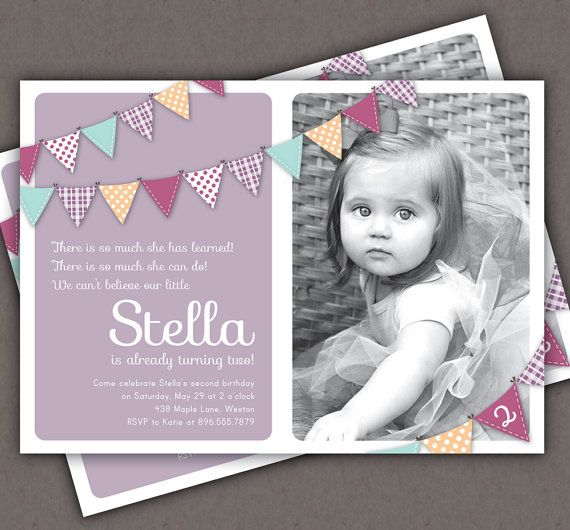 Bunting Invitation Photo Printable Invite - 1 Year Old 2 Year Old Girl - Second Birthday or First Birthday - Purple Pink