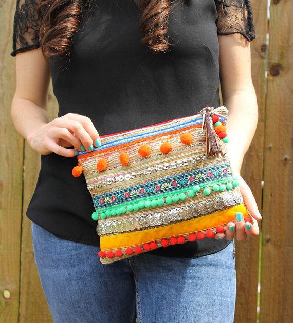 Ethnic Embellished Pom Pom Clutch Bag by RENIQLO on Etsy, £25.00