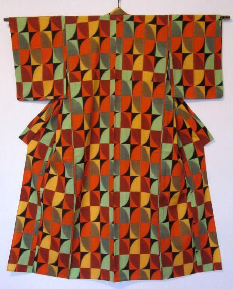 Hitoe (unlined kimono) Wool