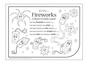 Counting is fun, especially when your little bright spark can colour in the fireworks at the same time!