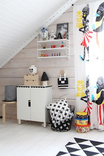A Finnish space fit for a superhero black & white mushroom lamp for sale at coos-je.nl