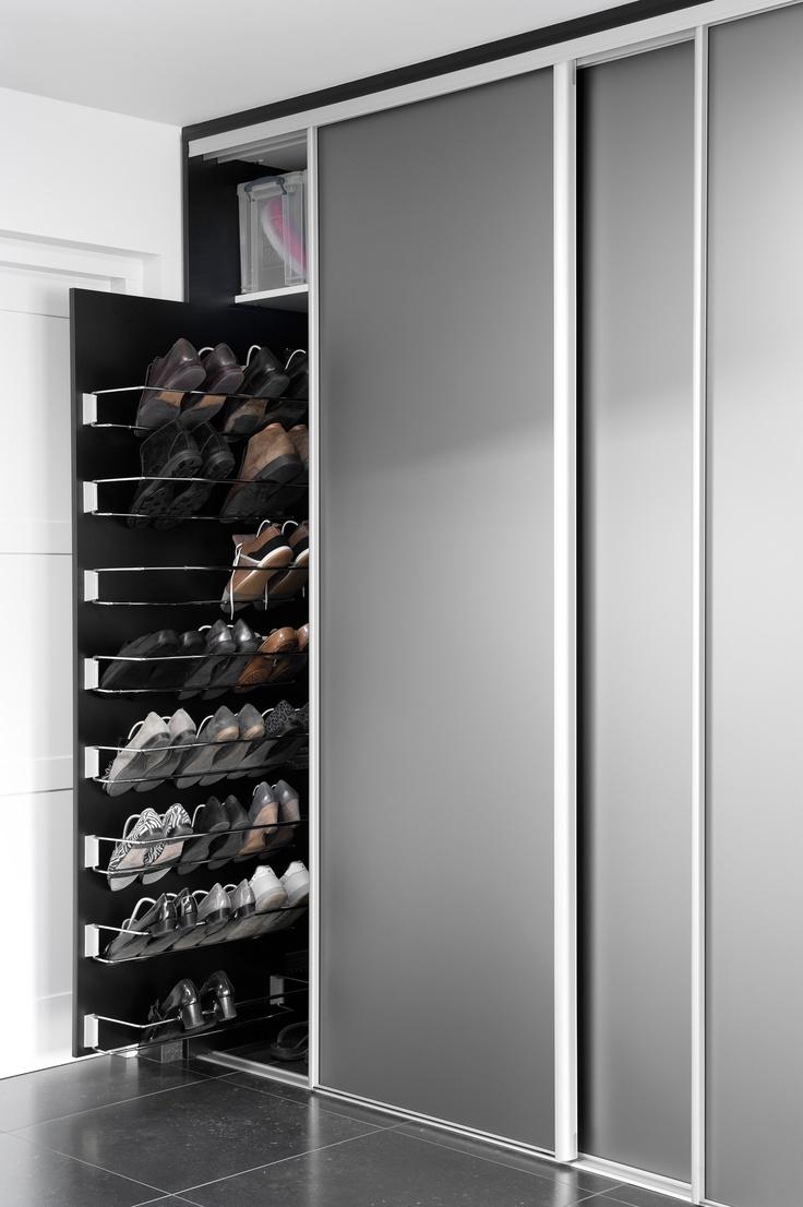 Schuifsysteem voor schoenen in kast