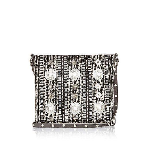 Grey leather embellished handbag - shoulder bags - bags / purses - women