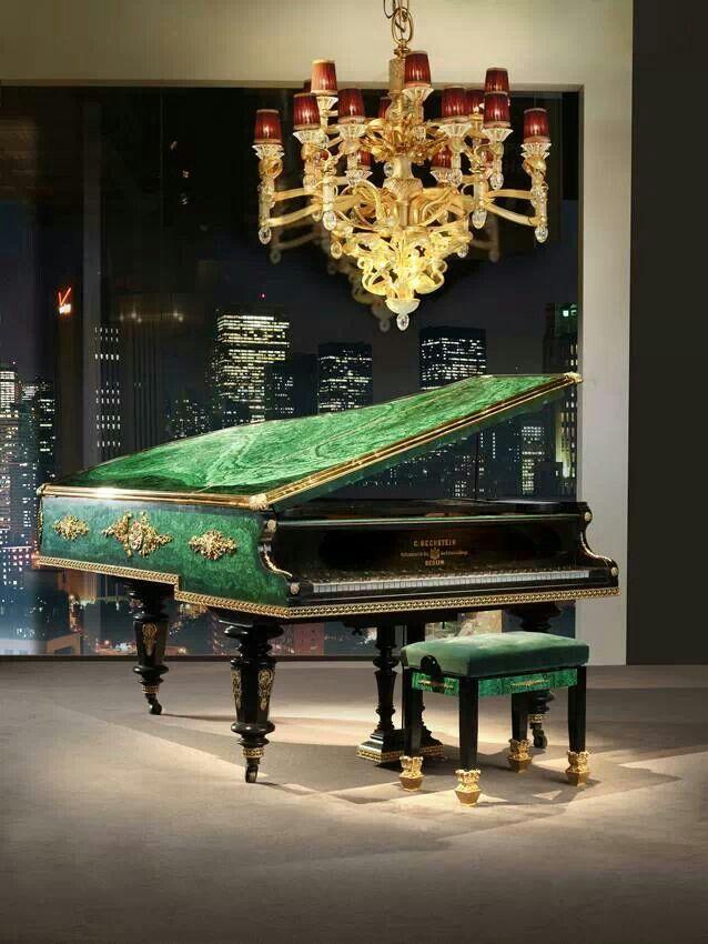 Baldi Malachite Veneered and 24k Gold Heavily Plated Bronze Historical Bechstein Piano.