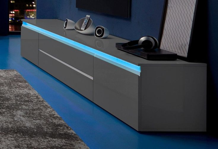TECNOS Lowboard grau, mit Schubkästen, FSC®-zertifiziert | Wohnzimmer > Schränke > Lowboards | Weiß - Anthrazit - Hochglanz | Hochglanz - Lackiert - Beton | TECNOS
