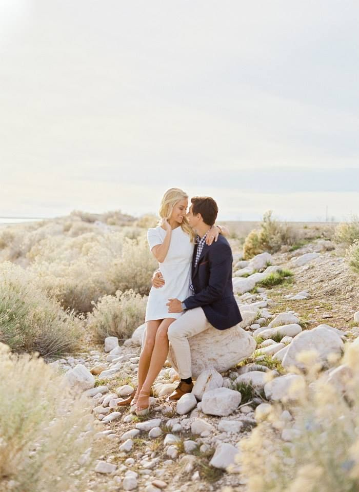 white dress for engagement photos