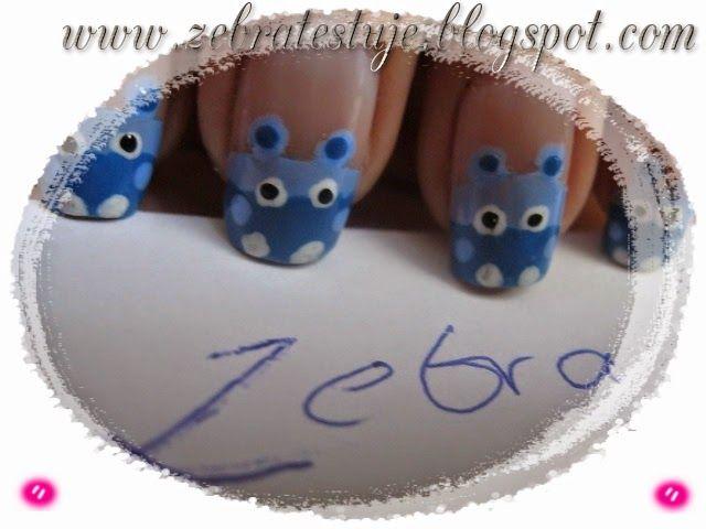 Zebra Testuje: Hipcio na paznokciach :] - Ręcznie malowany :]