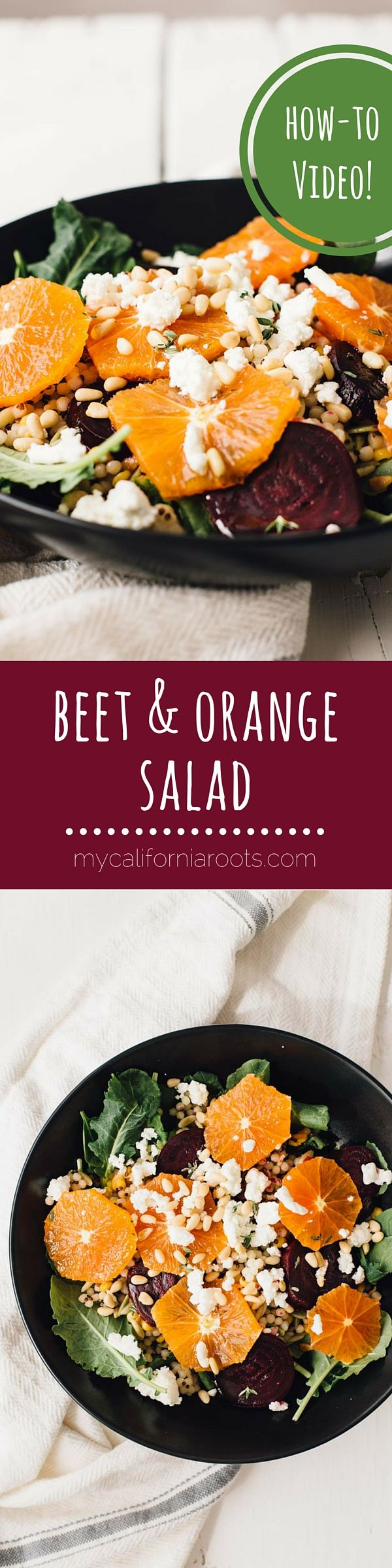 This beet, orange & goat cheese salad is super simple but looks so fancy! Perfect for a party where you want to impress without too much work!