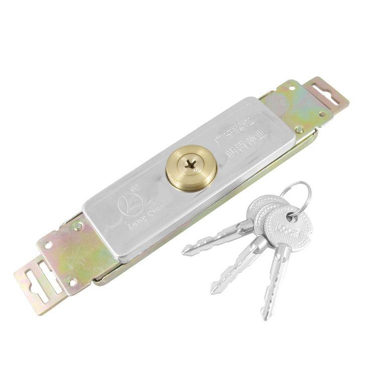 Unique Bargains 6.1 Install Distance Cross Keyway Metal (Grey) Roller Shutter Door Lock w 3 Keys