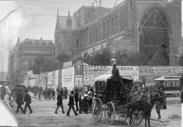 St Paul's Cathedral at Flinders Lane and Swanston St, Melbourne,Victoria under construction in 1889.