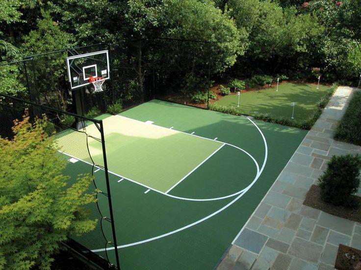 The 25 best backyard basketball court ideas on pinterest for Home outdoor basketball court cost