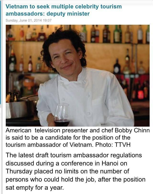 Congratulations to our Head Ho Bobby Chinn who has been nominated to be in Vietnam's Travel Ambassador. Congratulations Bobby!