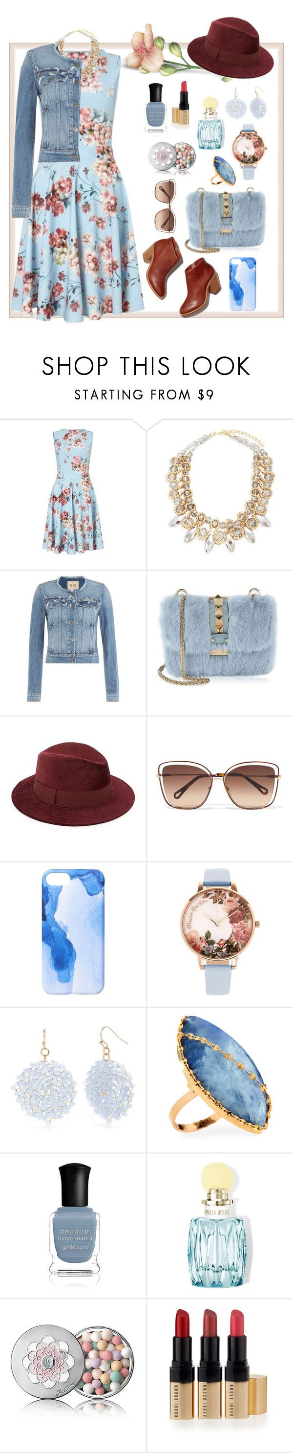 """Florals"" by babykiya786 ❤ liked on Polyvore featuring Miss Selfridge, Saks Fifth Avenue, Paige Denim, Valentino, Chloé, Ankit, Olivia Burton, New Directions, Lana and Deborah Lippmann"