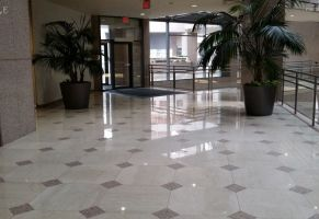 Commercial Lobby - Polished Marble and Granite Floor  Scope of work: sand and polish marble, sand and hone granite plus protect floor with a penetrating sealer.