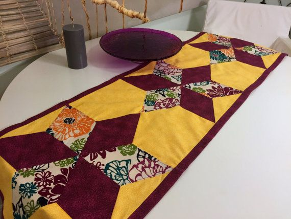 Patchwork Table Runner with Sateen Backing by QuiltingByKatya