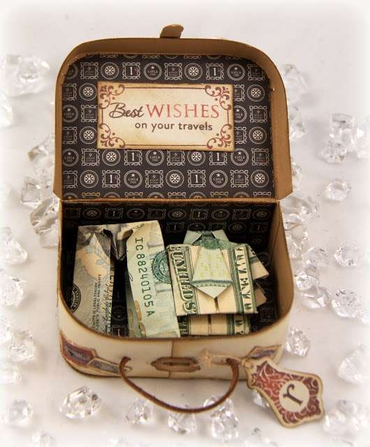 MONEY-FILLED VINTAGE SUITCASE; maybe adapt an Altoid tin ot the suitcase using vintage papers... Love the origami clothes!