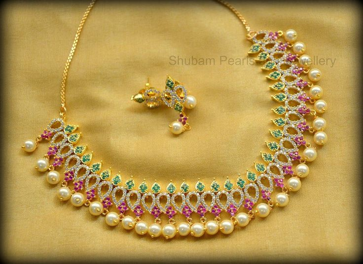 CZ short necklace in multi color with pearldropsPrice : 2400 /- InrFor Order :09030271018 : Whatsapp  21 February 2017