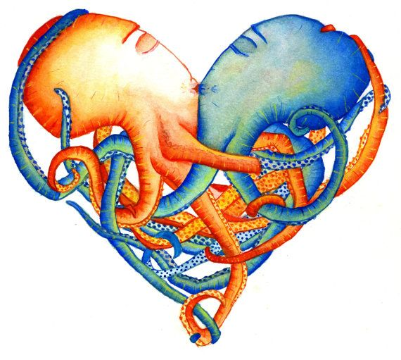 OCTOPUS HEART  ART Print by alittlesun on Etsy, $10.00.....I bought this in portland