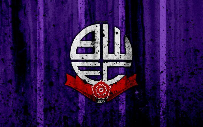Download wallpapers 4k, FC Bolton Wanderers, grunge, EFL Championship, art, soccer, football club, England, Bolton Wanderers, logo, stone texture, Bolton Wanderers FC