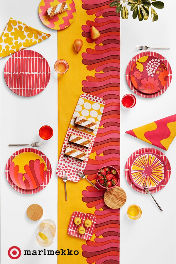 Style your patio to perfection with the Marimekko for Target collection, available April 17. With 18 stunning prints and over 200 pieces of designer chic, adding a bit or a bunch of brightly bold accents will be a breeze. Mix and match prints based on hue for a chic place to eat.