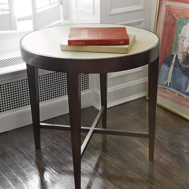 The Varenne Side Table, minimal and finely detailed, will liven up any corner of the room.  interior design, furniture, handmade furniture, side table, sofa table, living room, hallway, foyer, entryway, bedroom, office, study, den, library, modern, contemporary, transitional design, traditional, french design, leather top, custom furniture, minimalist, cocktail table, high-end, luxury, round table, Maxine Snider Inc.