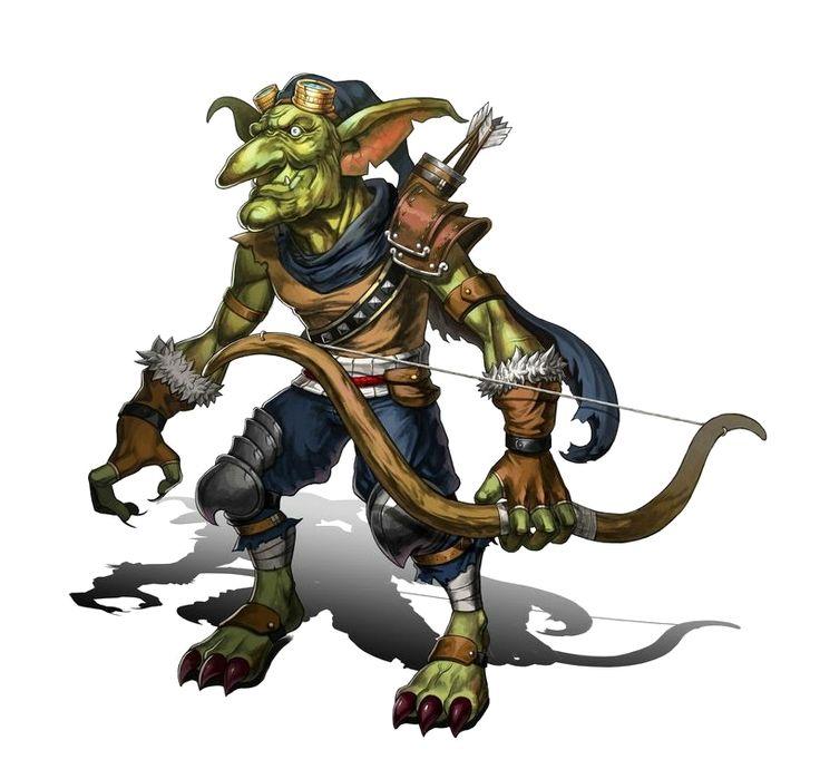 Male Goblin Archer - Pathfinder PFRPG DND D&D 3.5 5th ed d20 fantasy
