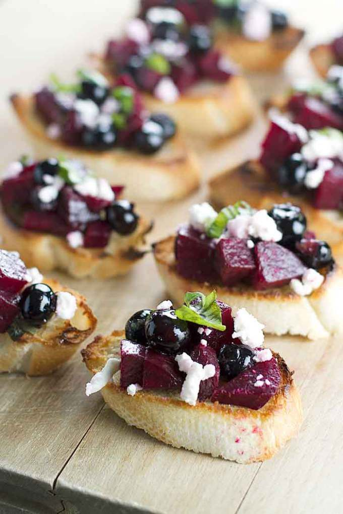 Beet & Blueberry Bruschetta | girlgonegourmet.com