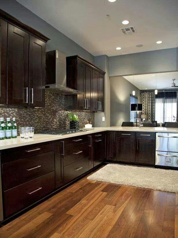 Dark cabinetry, light granite countertops, stainless steel - 43 Best Kitchen Images On Pinterest