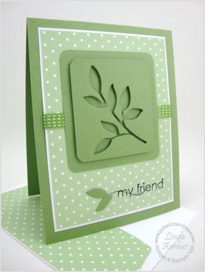 handmade card by Linda Aarbus ... monochromatic green all the same with Stampin' Up! papers .... raised shadow technique uses for the leaf focal point ... great card! ... Stampin' Up!