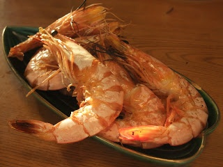 Traditional Japanese New Year dishes. Grilled prawn.