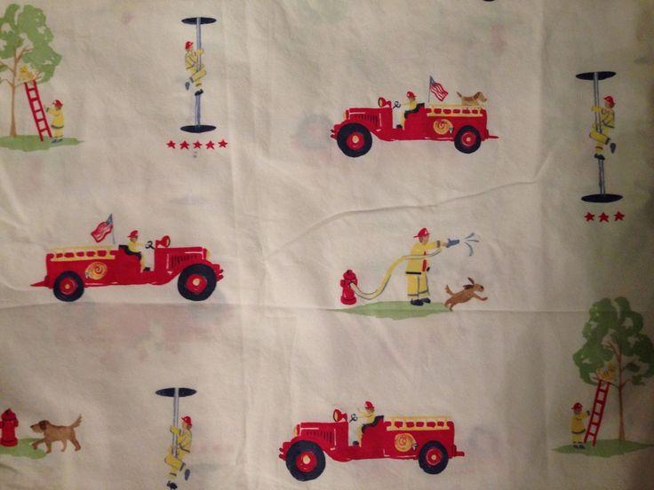 Pottery Barn Kids Fire Truck Engine Dog Twin Flat Sheet For Fabric   eBay