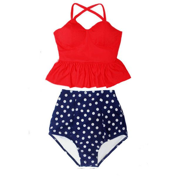 Red Long Peplum Bra Top and Polka Dot Dots Polkadot High Waisted Waist... ($40) ❤ liked on Polyvore featuring swimwear, bikinis, grey, women's clothing, red polka dot swimsuit, retro high waisted bikini, swim suits, red bathing suit and high-waisted bathing suits