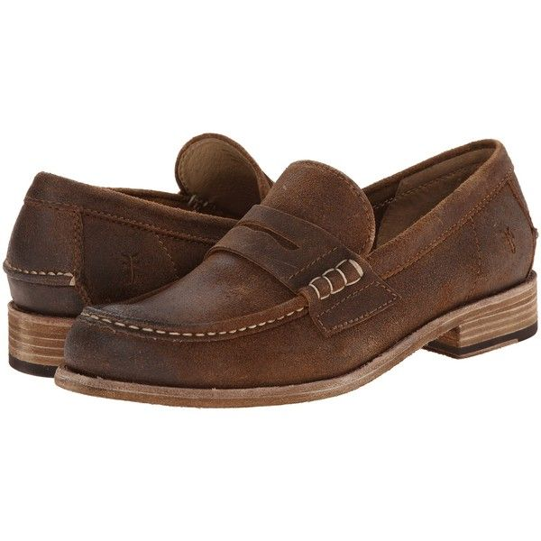 Frye Greg Leather Penny (Tan Brown Waxed Suede) Men's Slip on Shoes ($135) ❤ liked on Polyvore featuring men's fashion, men's shoes, brown, frye mens shoes, mens brown loafer shoes, mens brown shoes, mens venetian loafers and mens leather slip on shoes