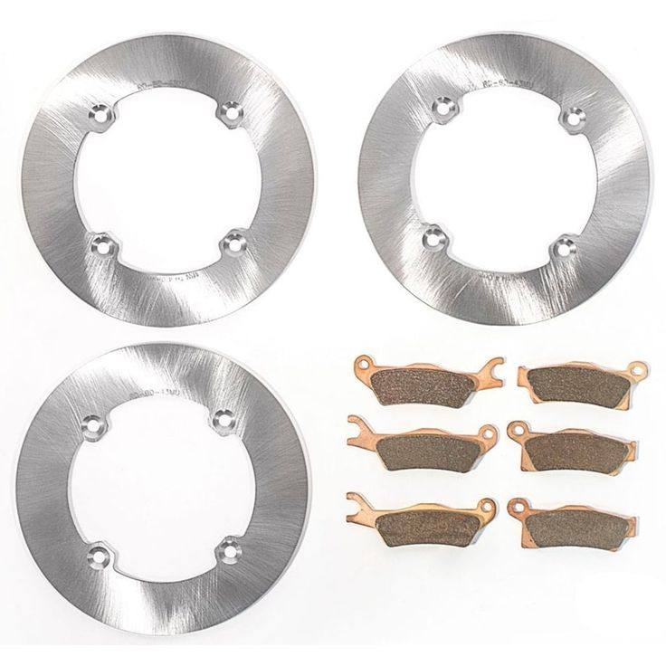 2016 Can-Am Outlander L XMR 570 Front & Rear MudRat Brake Rotors & Brake Pads, Silver stainless steel