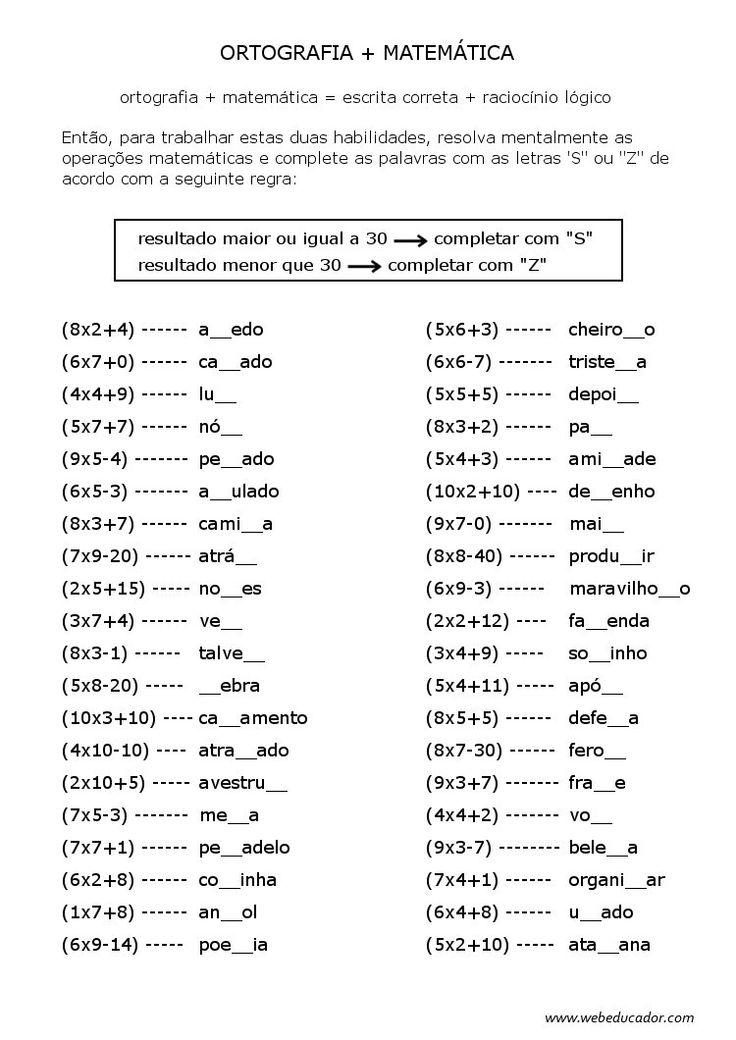 ortografia - s ou z - completar usando expressões numéricas