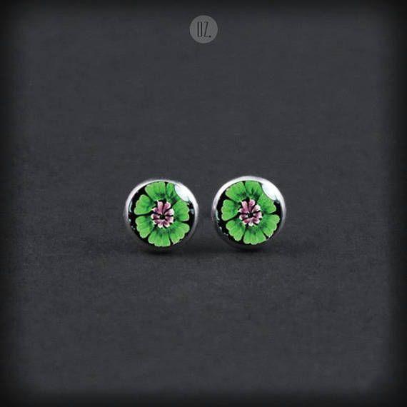 Studs Vivid Green Flowers Mini handmade folk jewelry from
