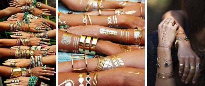 hippie schmuck indisch armreifen armketten gold steine