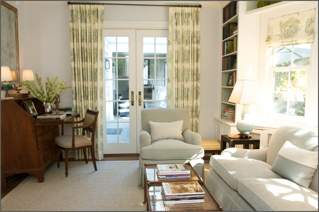 roman shade with french door drapes  Home Office Inspirations  Pinterest  Small den, Home and