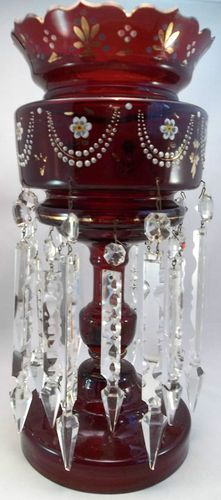Antique Victorian Glass Luster Candle Holder 2 Rows Prisms Ruby Red Hand Painted