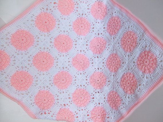 A pretty pink and white baby blanket for that special bundle of joy!!!!!  Made from easy care, acrylic yarn - the blanket can be machine washed &